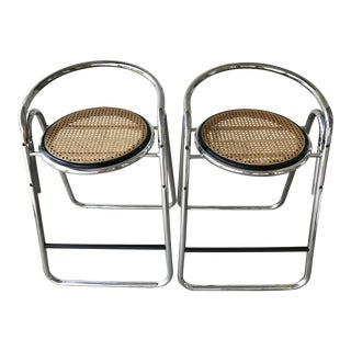 Vintage Italian Chrome & Cane Bar Stools -- A Pair