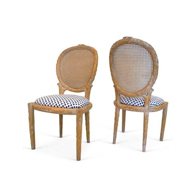 Vintage Faux Bois & Cane Dining Chairs - Set of 4 - Image 4 of 6