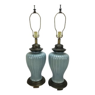 Pair Vintage Ice Blue & Brass Fluted Table Lamps