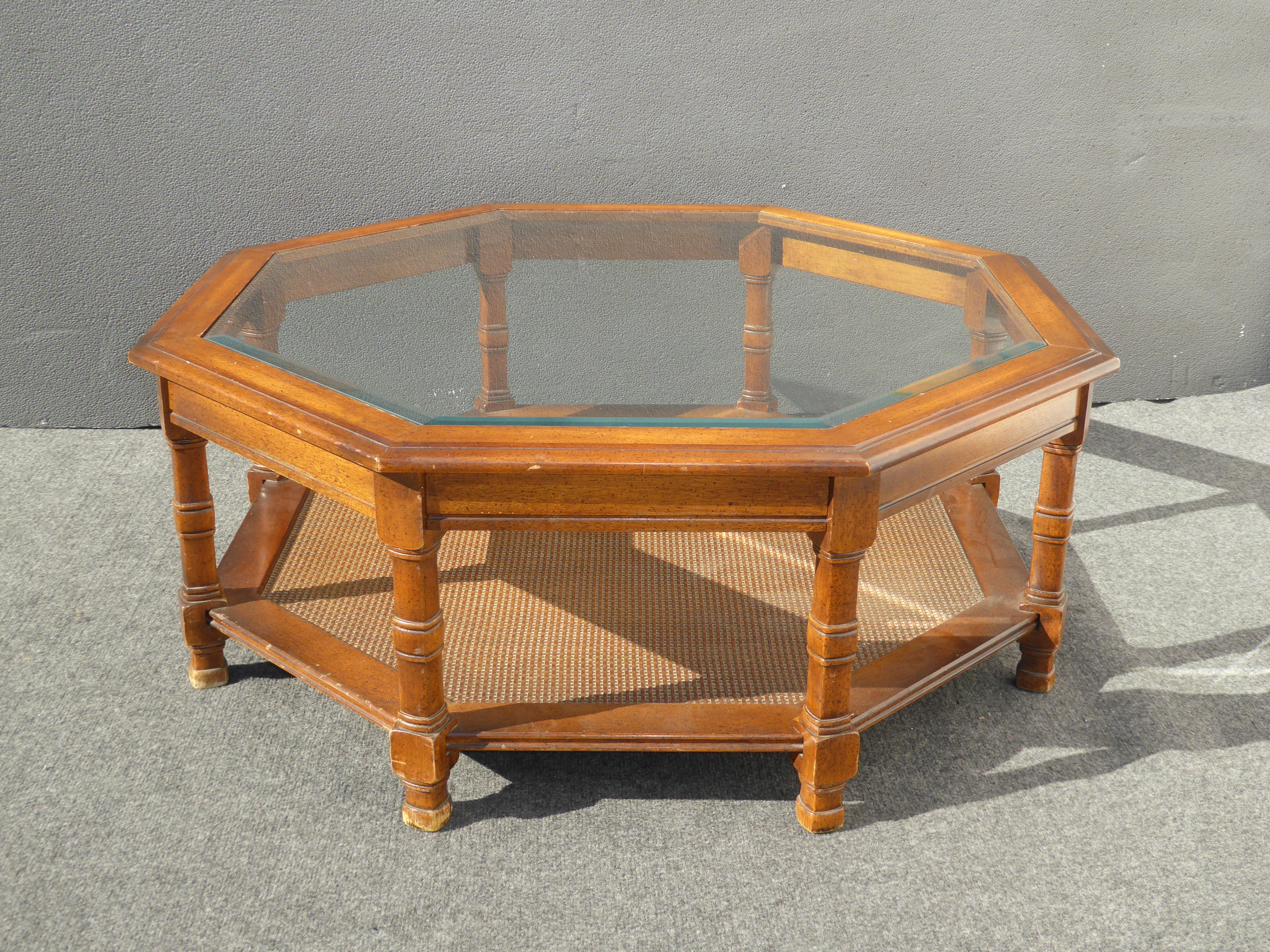 Mid Century Octagon Beveled Glass Top Coffee Table   Image 3 Of 9