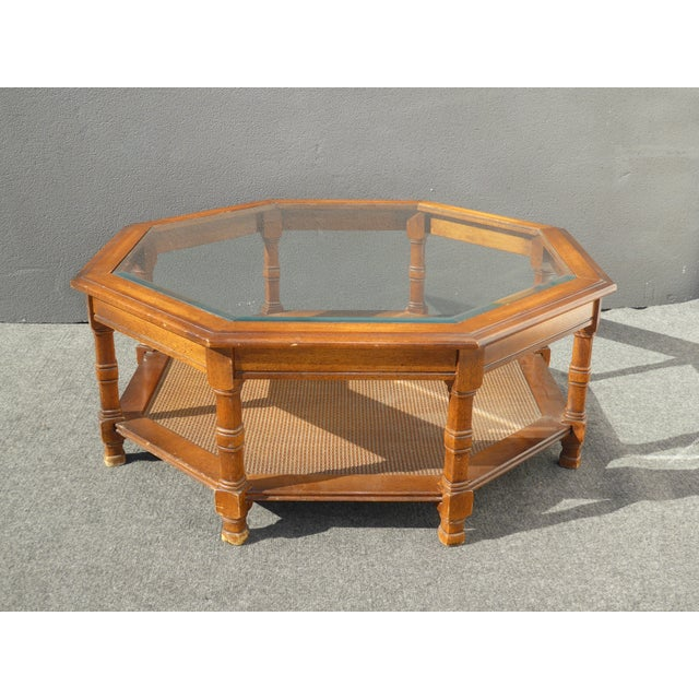 Mid century octagon beveled glass top coffee table chairish for Octagon glass top coffee table