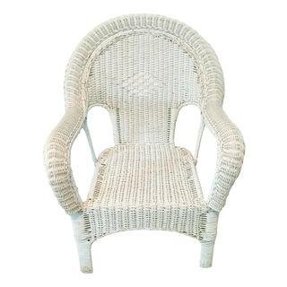 Vintage Wicker Fan Back Armchair