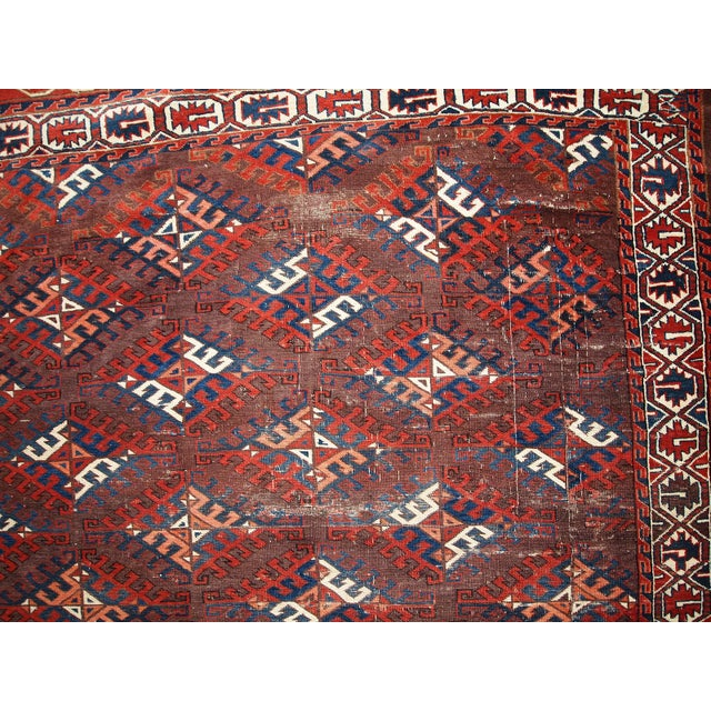1880s Hand Made Antique Turkoman Yomud Rug