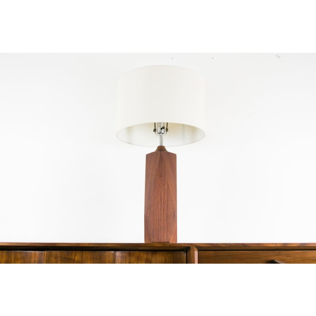 ip wood geometric sculptural table lamp chairish. Black Bedroom Furniture Sets. Home Design Ideas