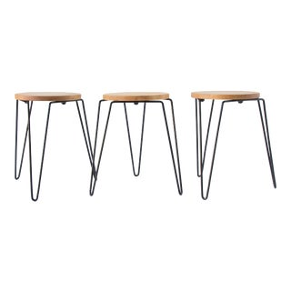 Knoll No. 75 Stools With Wrought Iron Legs - Set of 3
