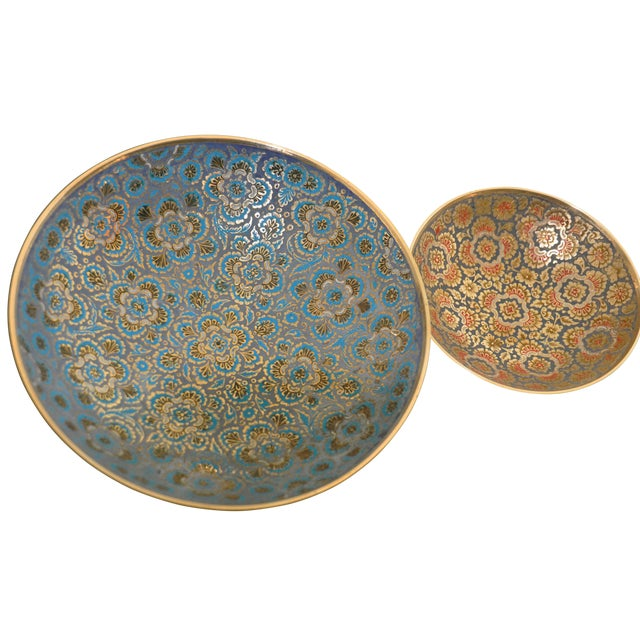Set of Hand-Etched Enameled Brass Bowls - Image 1 of 6