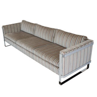 Milo Baughman Chrome Flat Bar Frame Sofa