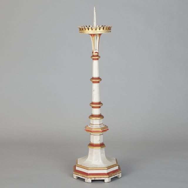 Image of Antique 19th C. White & Red Gilded Pricket Stick