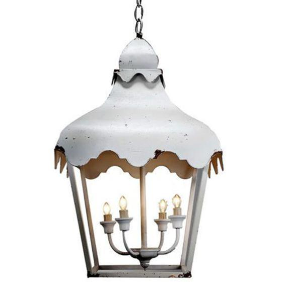 White Scalloped Pendant Lanterns - A Pair - Image 2 of 2