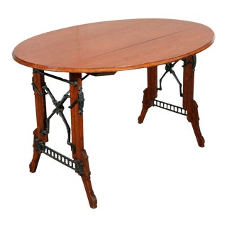 19th Century Eastlake Iron and Oak Campaign Table