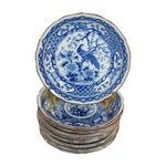 Image of Blue & White Japanese Peacock Bowls - Set of 9
