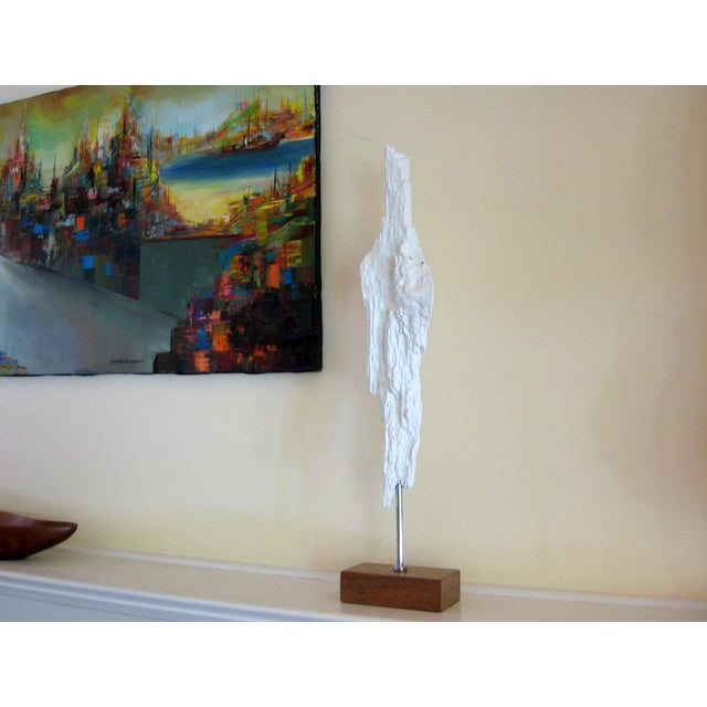 Image of White Driftwood Modernist Art Sculpture on Base