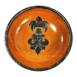 Vintage Fleur De Lis Wood Serving Bowl