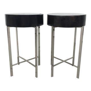 Chrome Base Tables with Wood Tops - A Pair