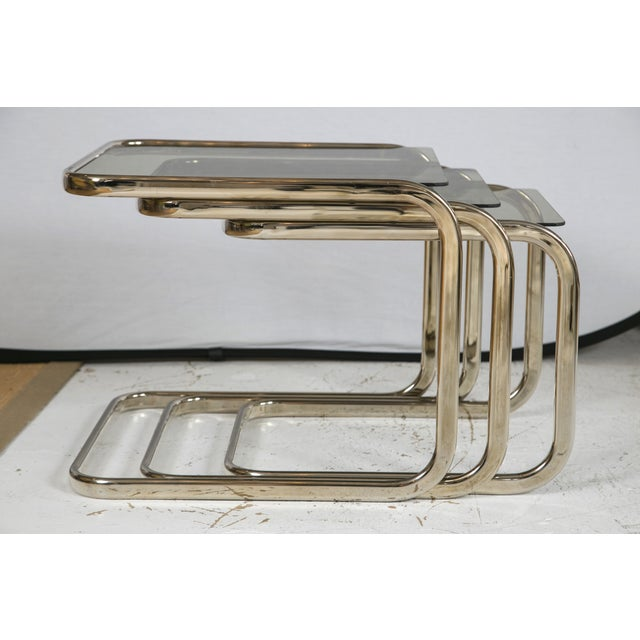 White Gold Finish & Glass Nesting Tables - A Pair - Image 3 of 8