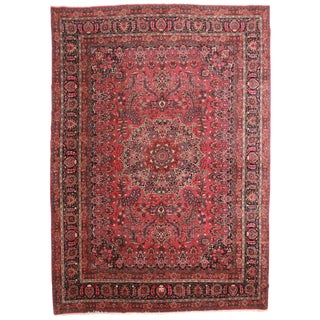 "RugsinDallas Antique Wool Persian Mashhad Rug - 11'2"" X 15'9"""