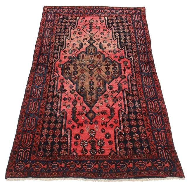 Vintage Persian Hamedan Wool Rug - 3′10″ × 6′10″ - Image 2 of 2
