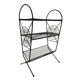 Mid Century Modern Black Wire Record Rack Stand