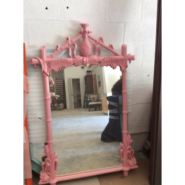 Gampel & Stoll Lacquered Flamingo Pink Faux Bamboo Wall Mirror - Image 4 of 10