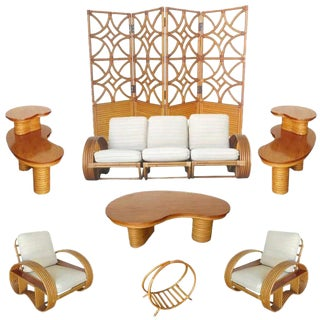 Rare Restored Mid Century Rattan and Mahogany Living Room Set