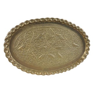 Antique Persian Oval Brass Tray