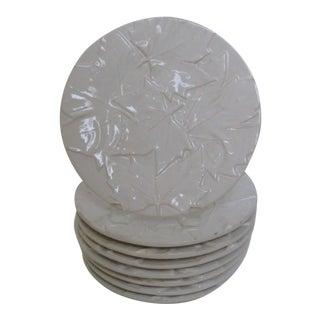 Portuguese Porcelain Leaf Salad Plates- Set of 8