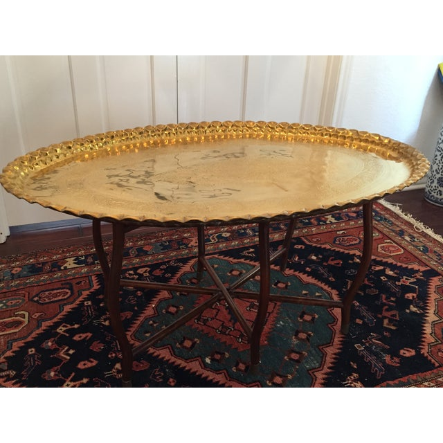Large Oval MCM Brass Tray Coffee Table - Image 2 of 10