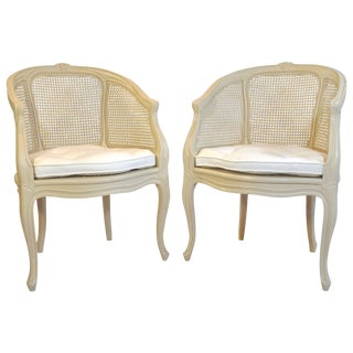 Elegant Louis Style Vintage Caned Armchairs - Pair