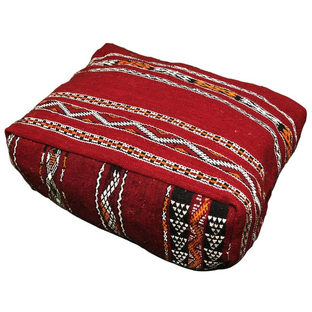 Handmade Moroccan Striped Berber Pouf - Image 1 of 3