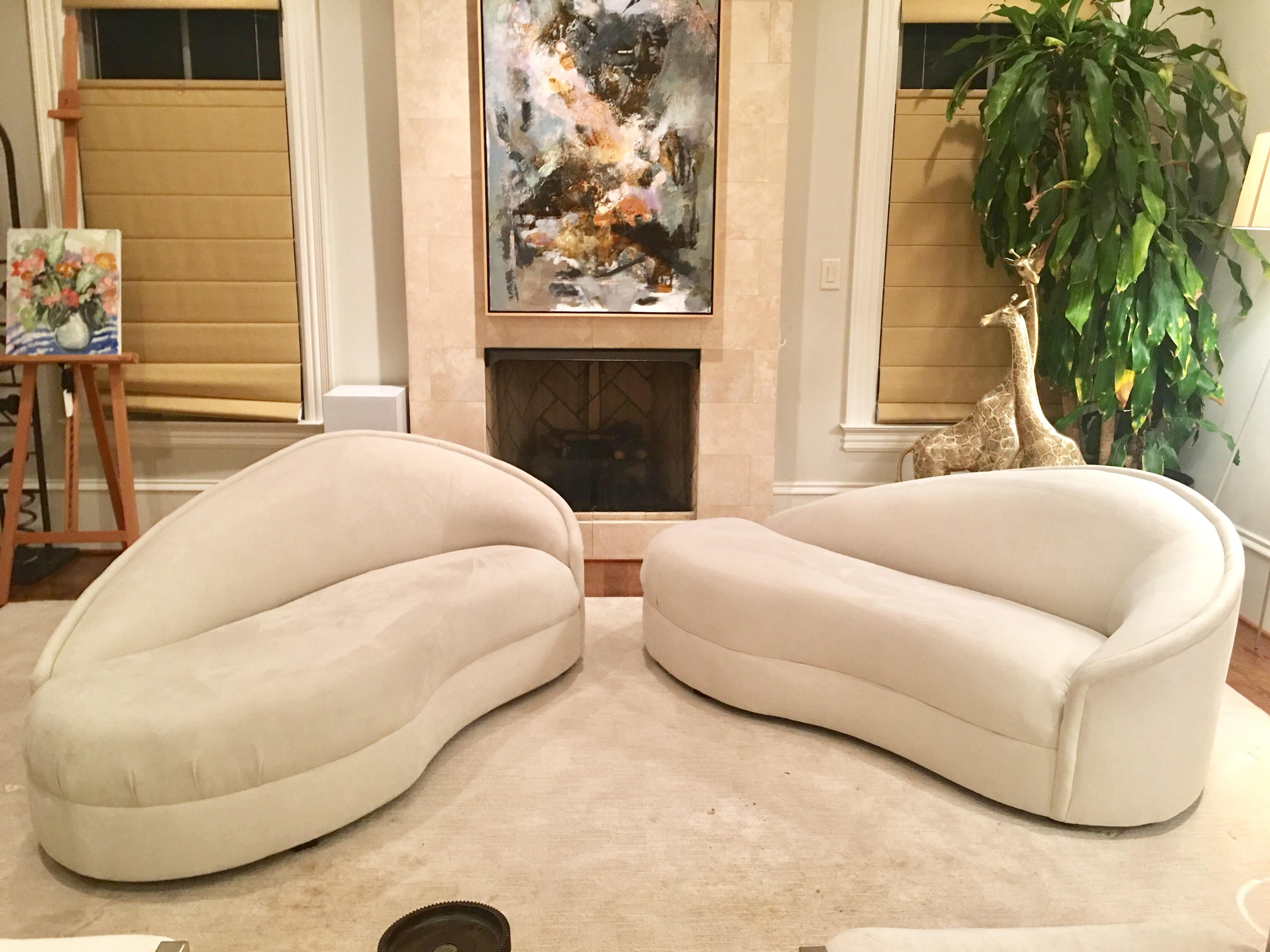 Modern White Suede Sofa Chaises - a Pair - Image 2 of 10  sc 1 st  Chairish : sofa chaises - Sectionals, Sofas & Couches
