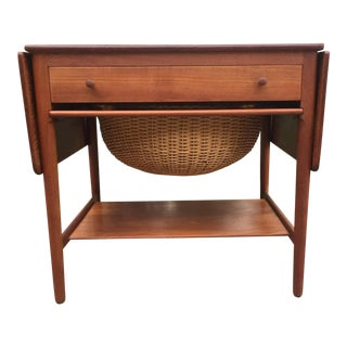 Hans J. Wegner Model At-33 Solid Teak Sewing Table