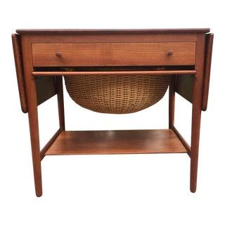 Hans J. Wegner Model At-33 Solid Teak Sewing Table