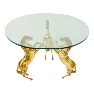 Brass Horse Pedestal Based Glass Top Coffee Table