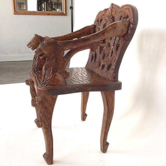 Image of Vintage Black Forest Carved Chair