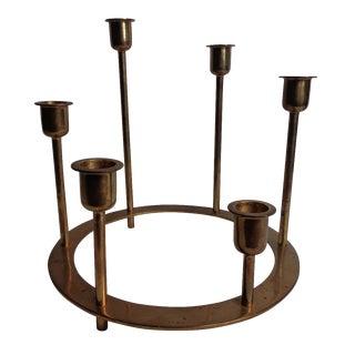 Mid-Century Circular Brass Candelabra