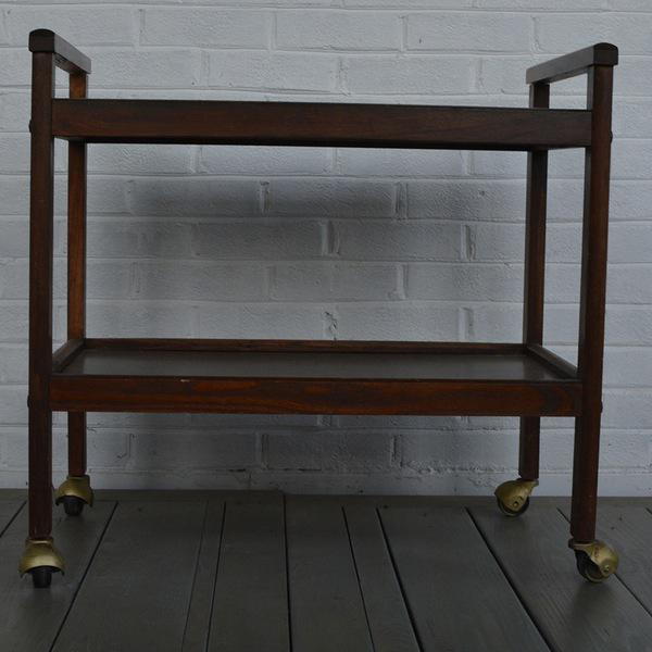 Walnut Two-Tiered Bar Cart - Image 11 of 11