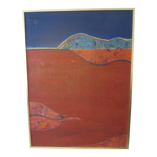 Abstract Red & Blue Landscape Mixed Media Collage