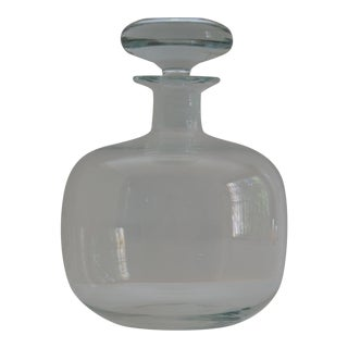 Mid-Century Handblown Glass Bulbous Decanter with Stopper