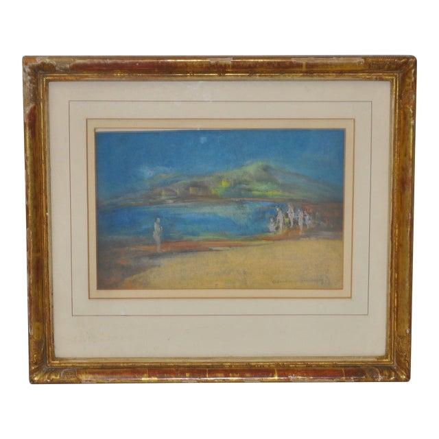 """Abraham Goldberg """"Coastal Scene w/ Figures"""" Pastel Painting c.1930s - Image 1 of 7"""