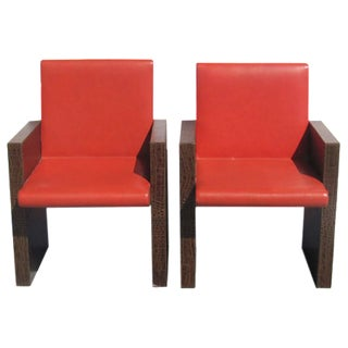 Hermès Orange & Croc Leather Chairs - A Pair