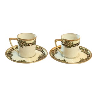 Vintage Nippon Hand Painted Cups and Saucers - Set of 2
