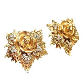 Elizabeth Taylor Golden Rose Earrings
