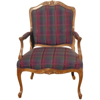 Drexel French Provincial Red Plaid Arm Chair