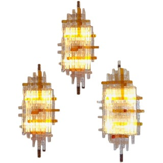 Single Large Glass Wall Sconces in the style of Poliarte, Italy circa 1970