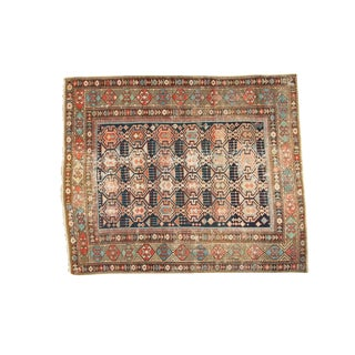 "Antique Shirvan Square Rug - 3'11"" x 4'9"""