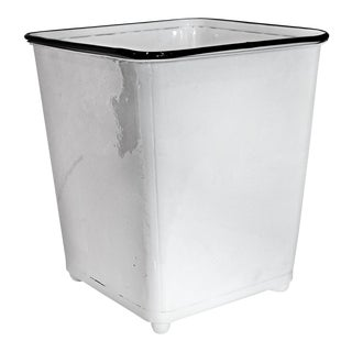 1930s Machine Age Gloss White Steel Trash Can