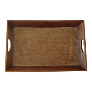 Organic Wooden Tray with Woven Bottom