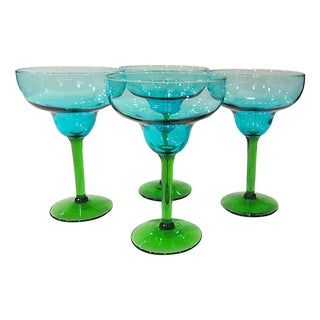 Turquoise & Green Margarita Glasses - Set of 4