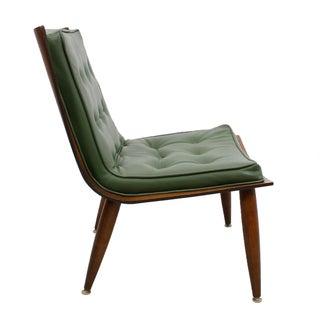 Milo Baughman Style Walnut Scoop Chair