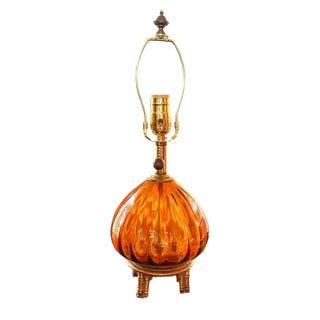 Hollywood Regency Italian Glass Bedroom or Desk Lamp